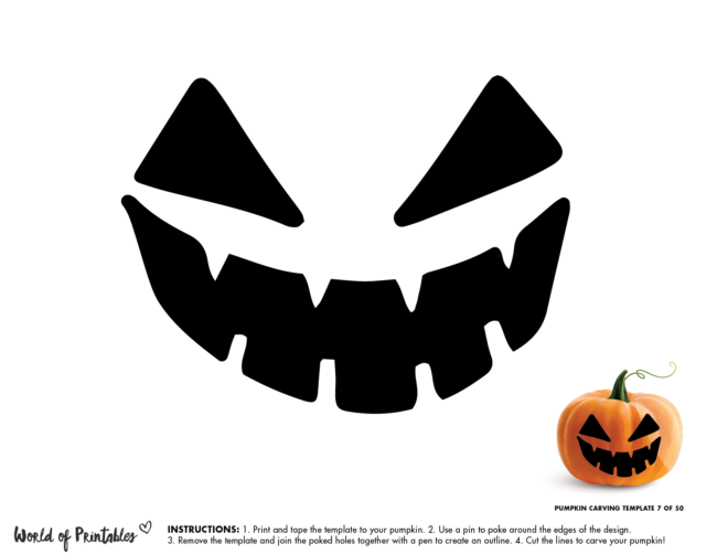Pumpkin Carving Stencil Template - easy scary face