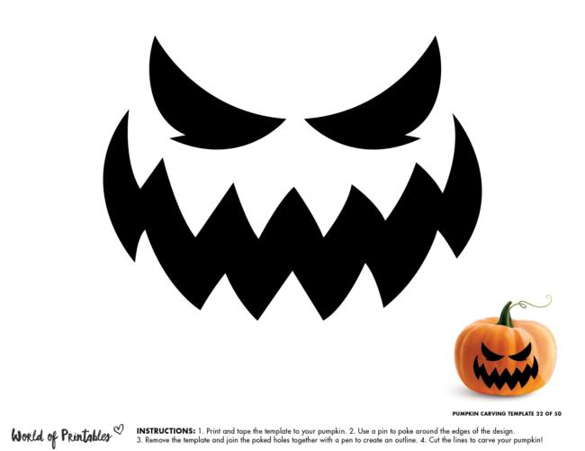 Pumpkin Carving Stencil Template - evil pumpkin face