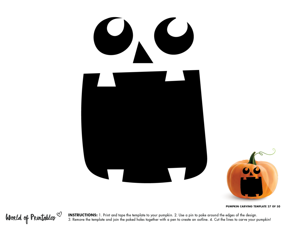 Pumpkin Carving Stencil Template - fun pumpkin face