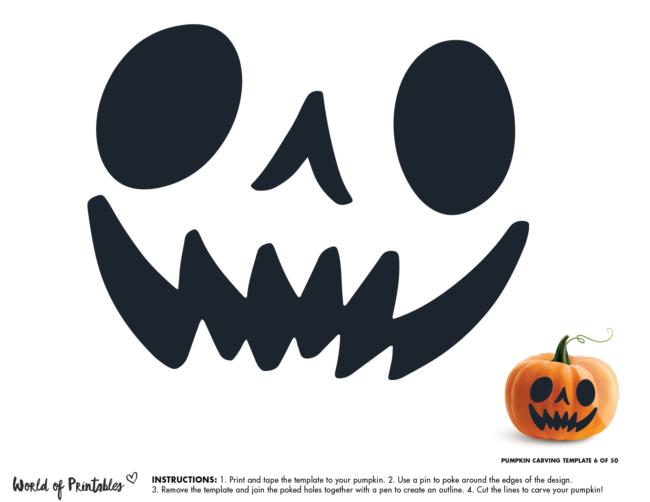 Pumpkin Carving Stencil Template - fun scary face
