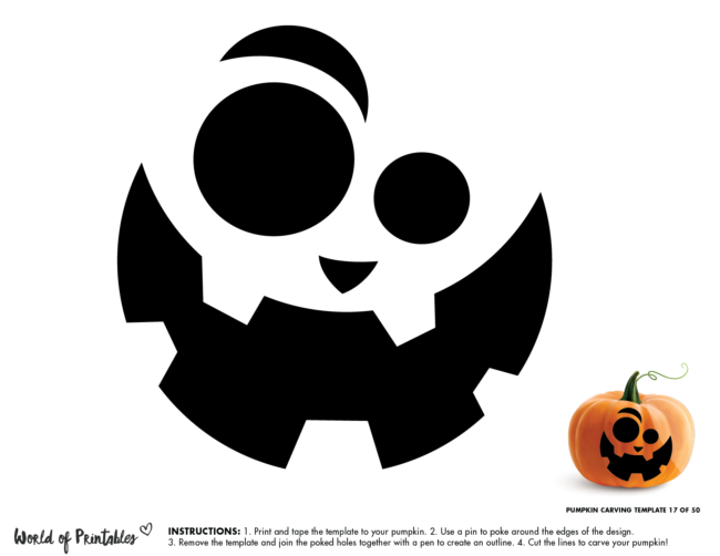 Pumpkin Carving Stencil Template - funny face