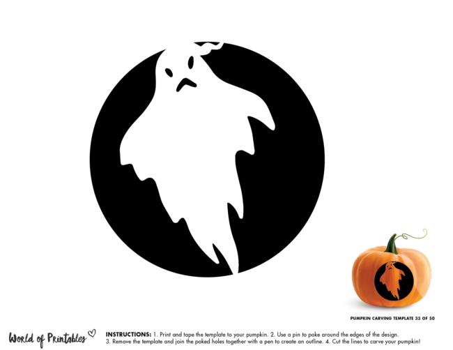 Pumpkin Carving Stencil Template - ghost