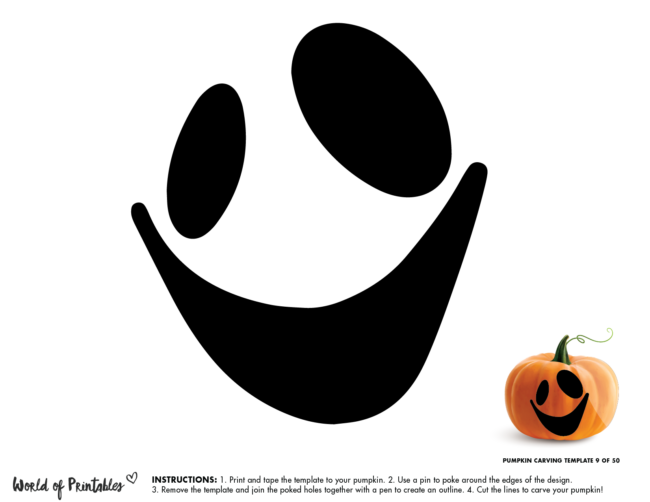 Pumpkin Carving Stencil Template - ghost face