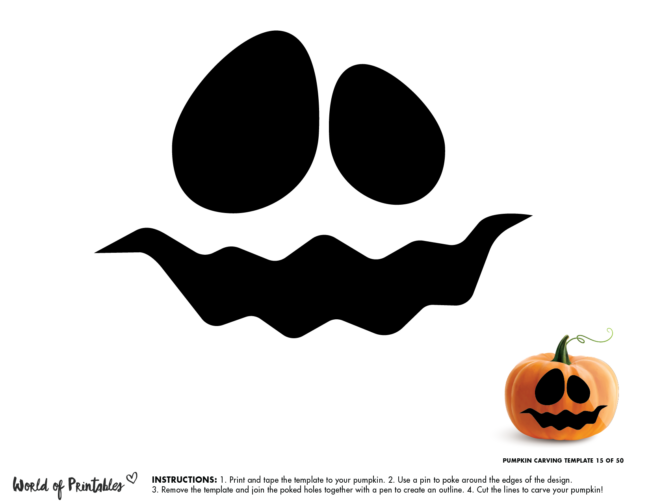 Pumpkin Carving Stencil Template - ghost face scary