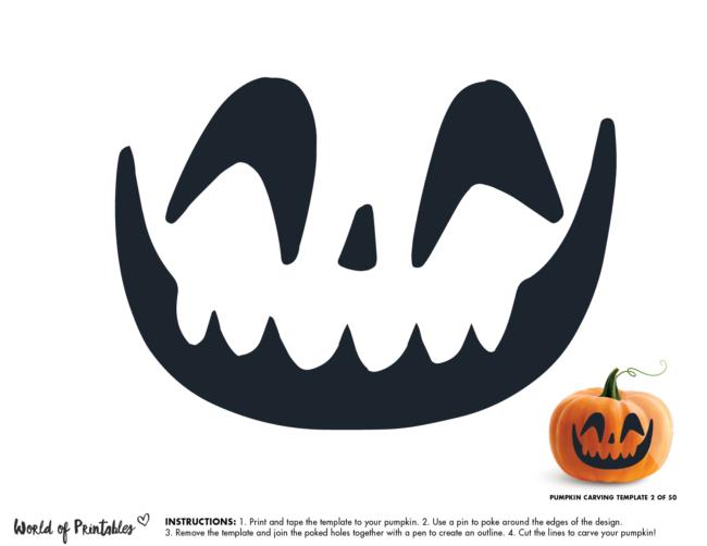 Pumpkin Carving Stencil Template - happy face