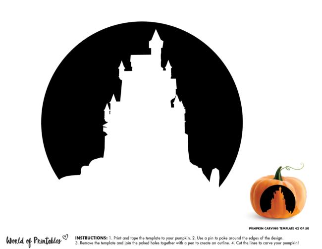 Pumpkin Carving Stencil Template - haunted castle