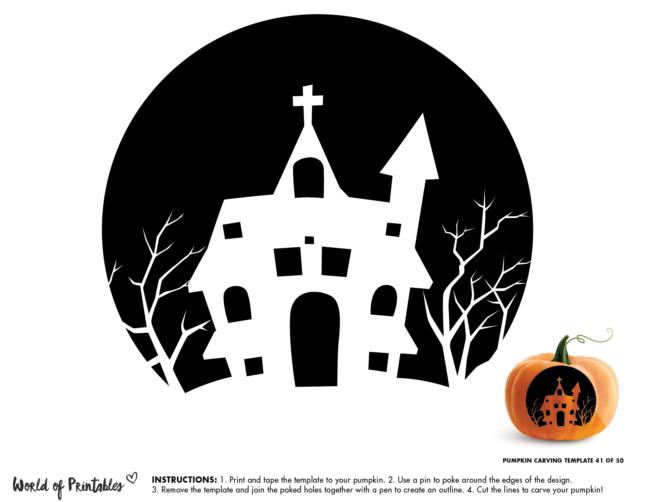 Pumpkin Carving Stencil Template - haunted church