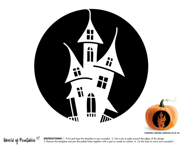 Pumpkin Carving Stencil Template - haunted house