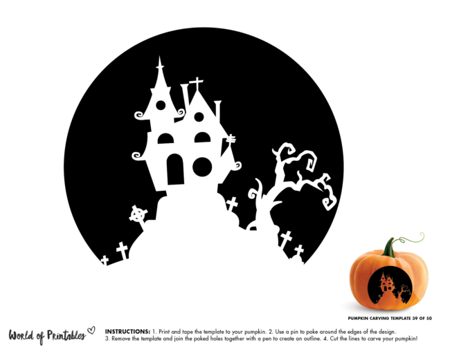Pumpkin Carving Stencil Template - haunted house on hill cemetery