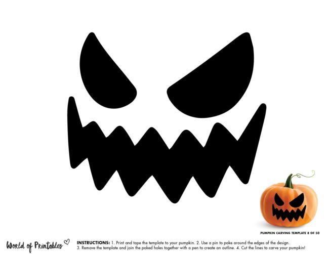 Pumpkin Carving Stencil Template - jack o lantern face