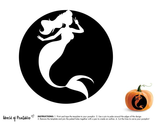 Pumpkin Carving Stencil Template - mermaid