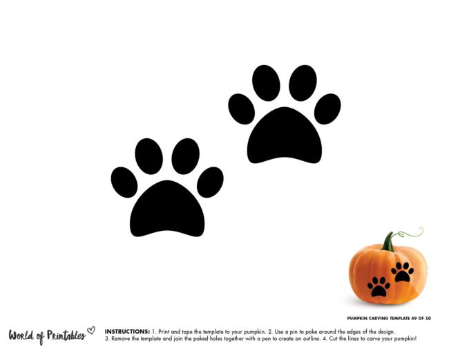 Pumpkin Carving Stencil Template - paw prints