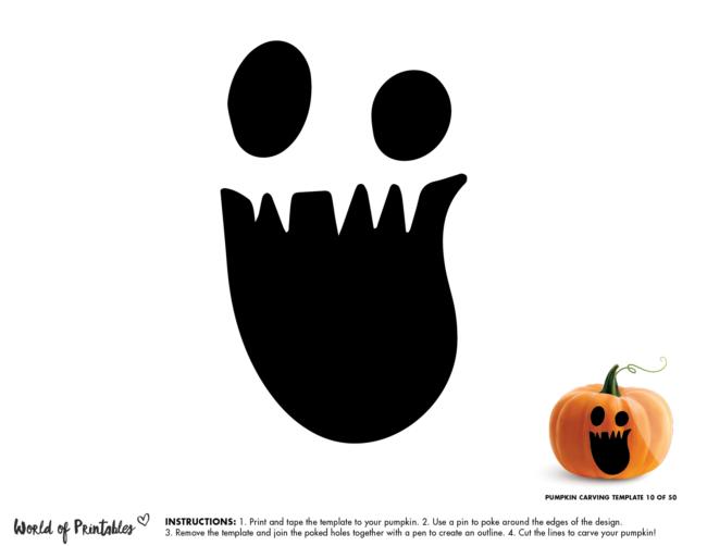 Pumpkin Carving Stencil Template - pumpkin face