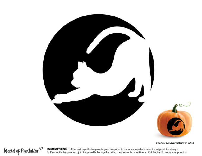 Pumpkin Carving Stencil Template - scary cat