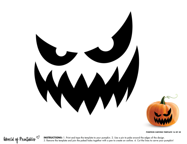 Pumpkin Carving Stencil Template - scary evil face