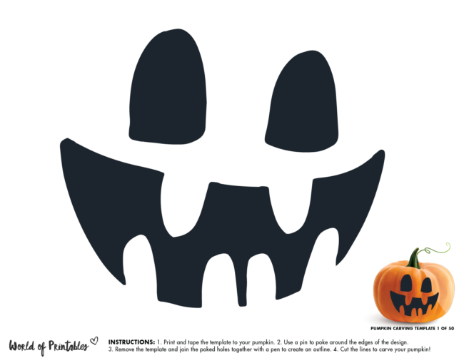 Pumpkin Carving Stencil Template - scary face