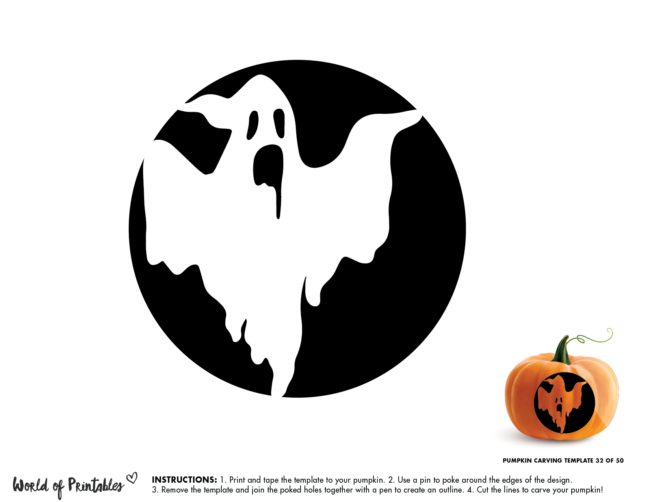 Pumpkin Carving Stencil Template - scary ghost
