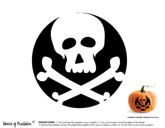 Pumpkin Carving Stencil Template - skull and crossbones