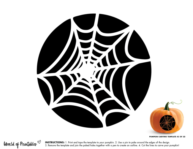 Pumpkin Carving Stencil Template - spider web
