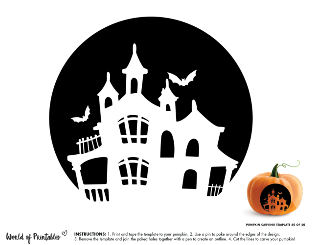Pumpkin Carving Stencil Template - spooky house