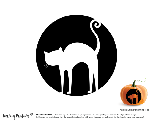 Pumpkin Carving Stencil Template - spooky witches cat