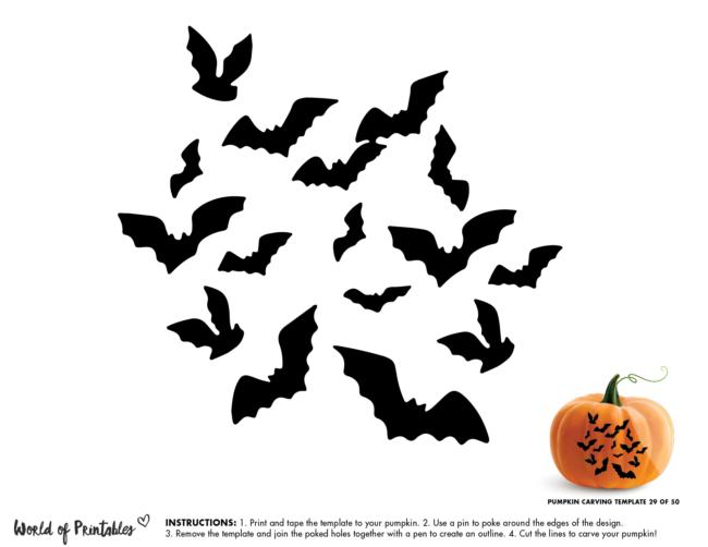 Pumpkin Carving Stencil Template - swarm of bats