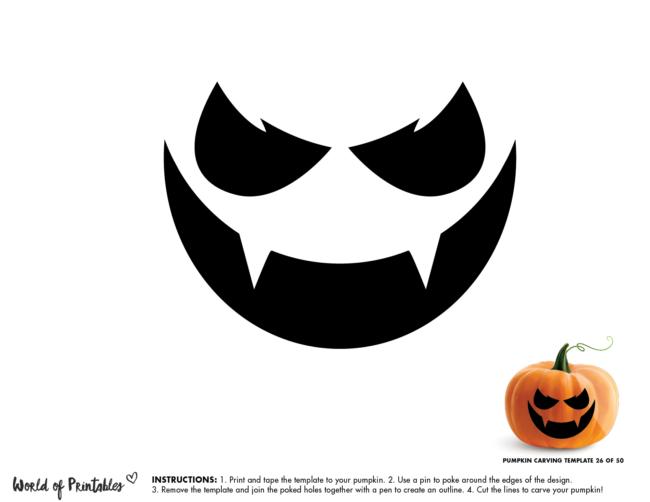 Pumpkin Carving Stencil Template - vampire pumpkin face