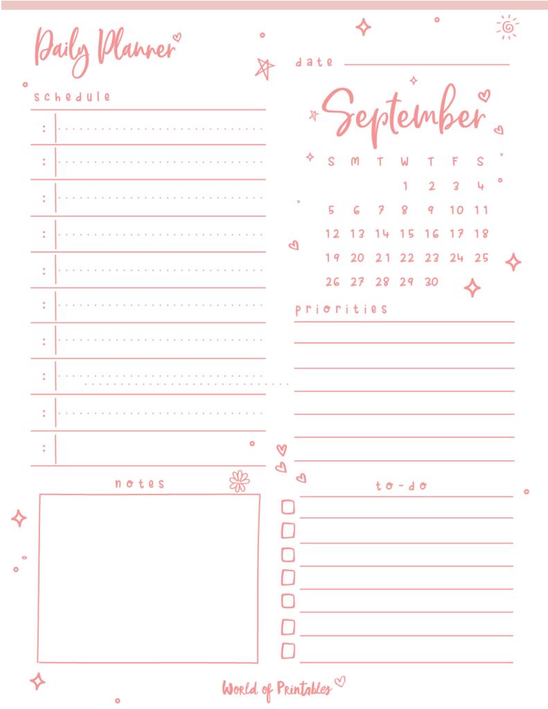 September 2021 Daily Planner Printable