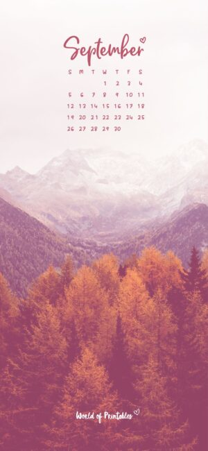 September Calendar Phone Wallpaper Background Fall Mountain And Forest Scenery