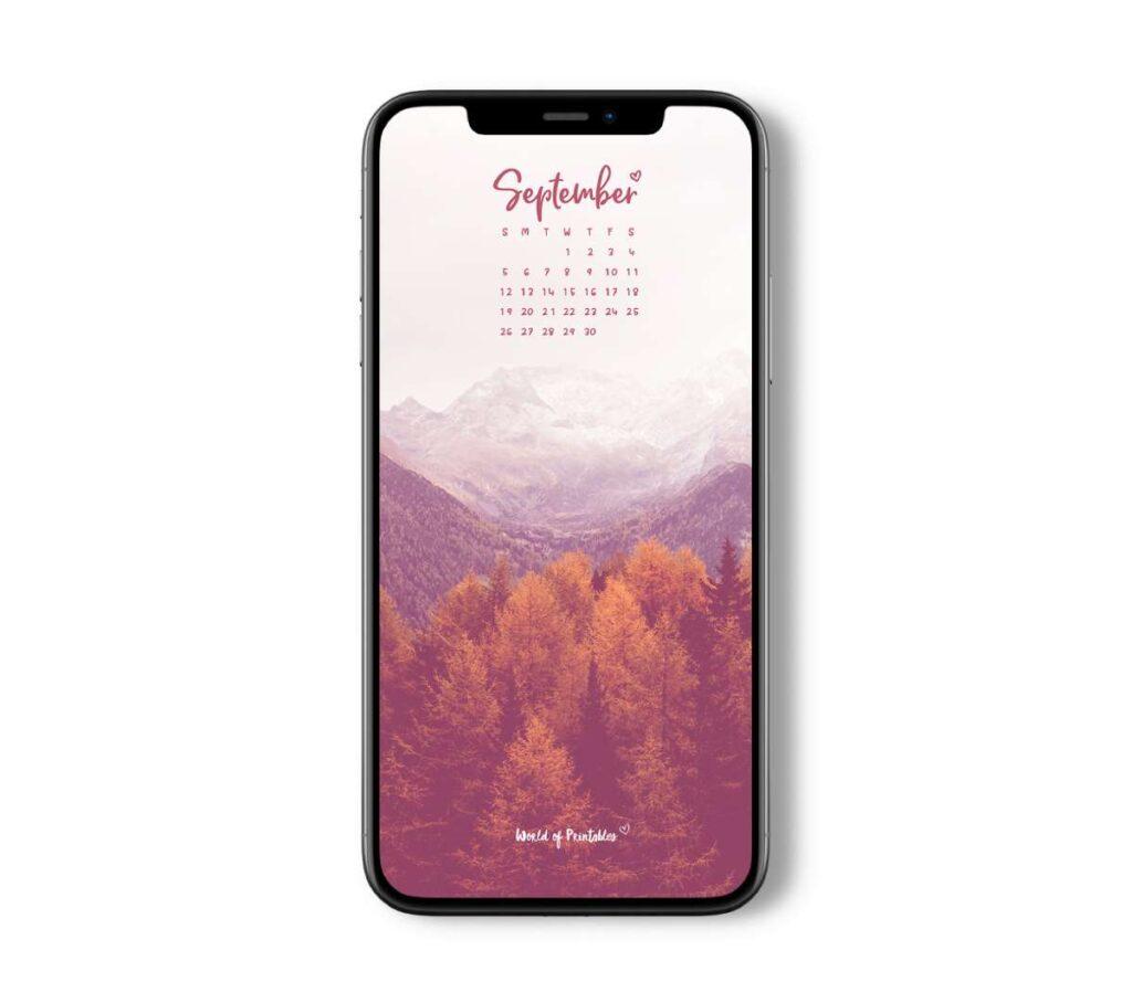 September calendar phone wallpaper