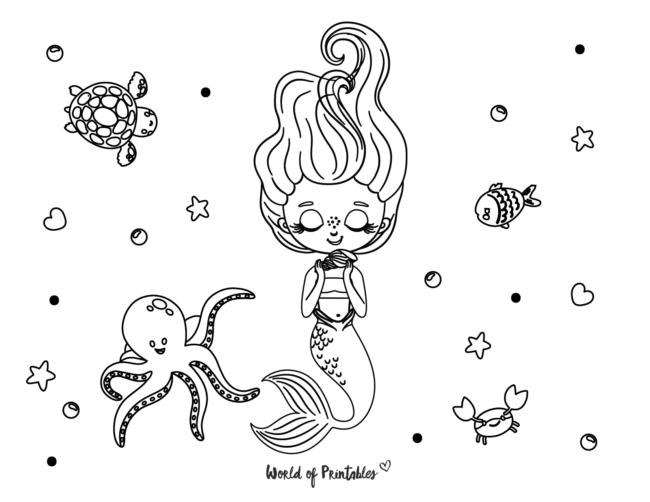beautiful happy mermaid coloring page