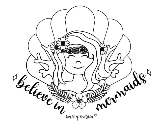 believe in mermaids coloring page
