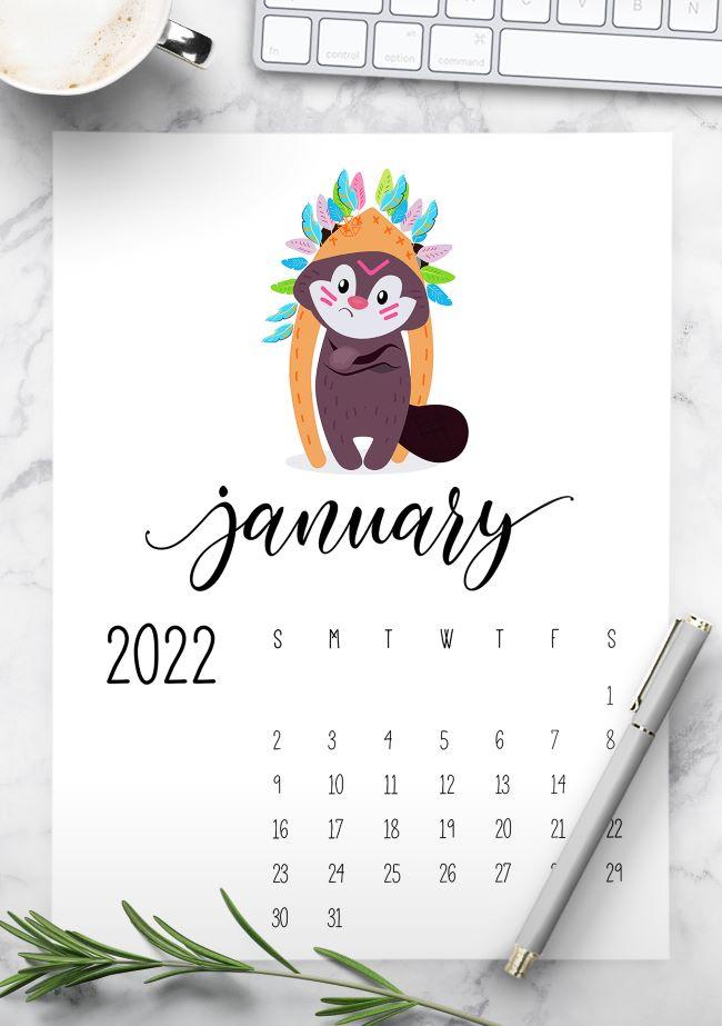 cute 2022 printable calendar - kids calendar 2022