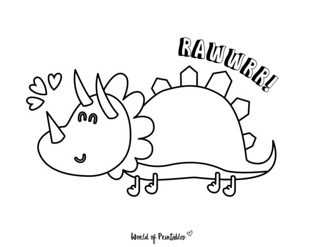 cute dinosaur coloring page roar
