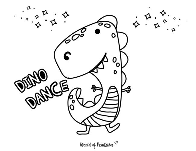 dancing dinosaur coloring page