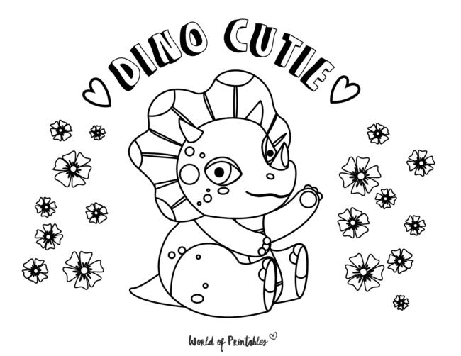 dino cutie coloring page