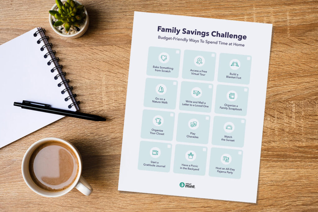 Printable family savings challenge. Budget friendly ways to spend time at home.