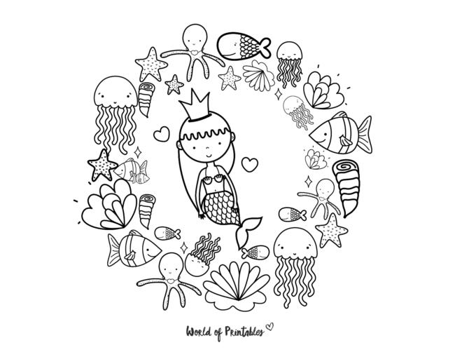 fish and mermaid coloring page