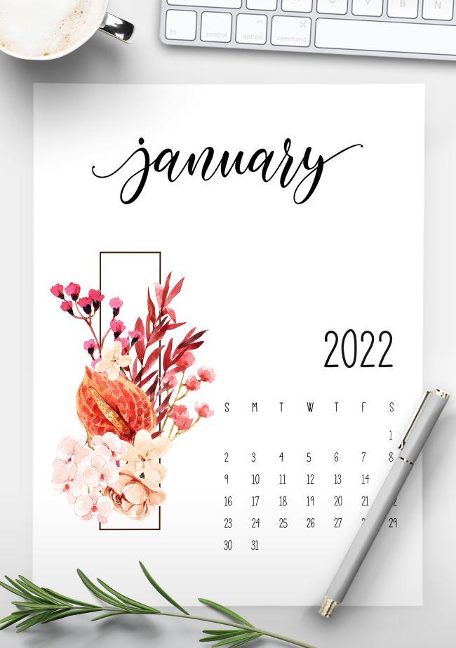 Free Printable Floral 2022 Calendar
