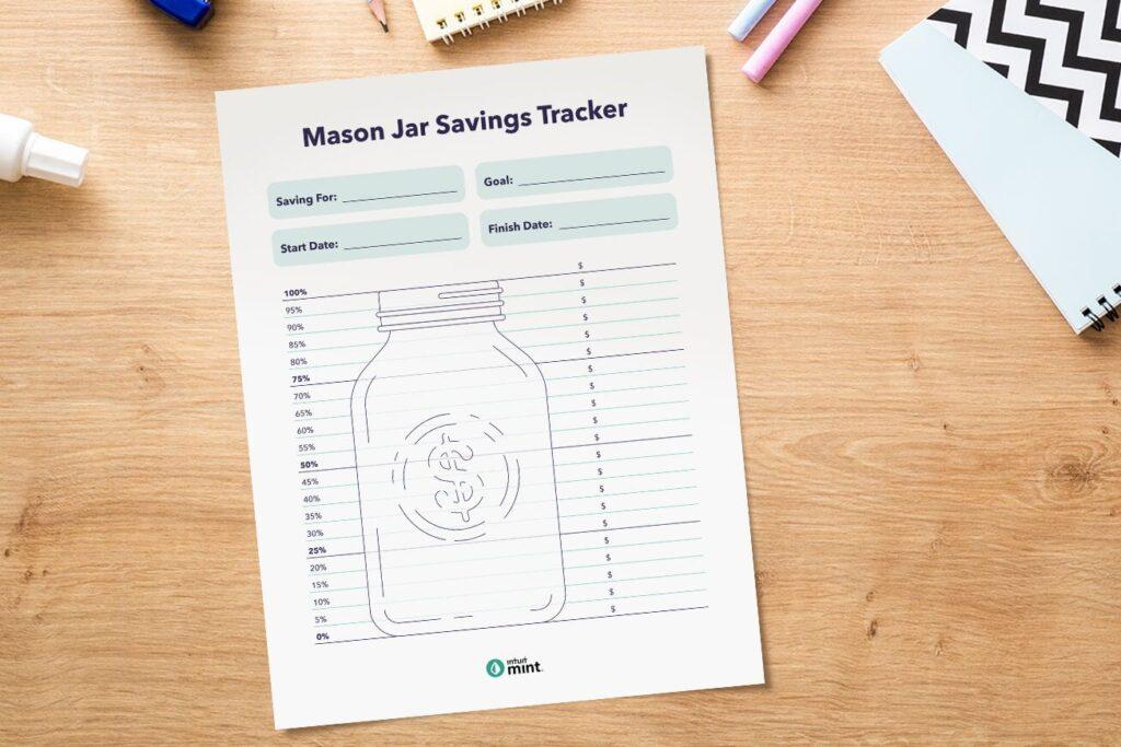 Mason jar savings tracker printable.