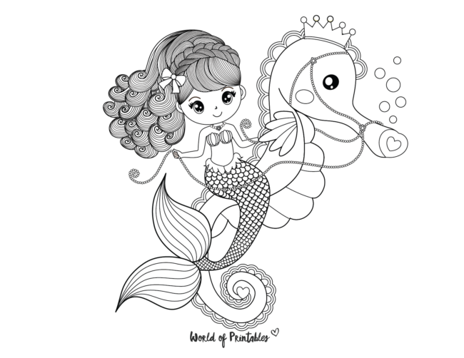 mermaid and seahorse coloring page