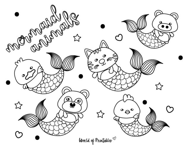 mermaid animals coloring page