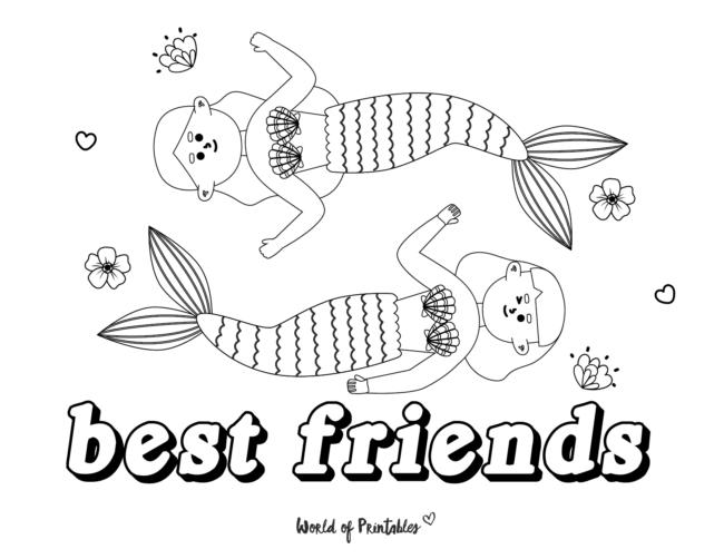 mermaid best friends coloring page
