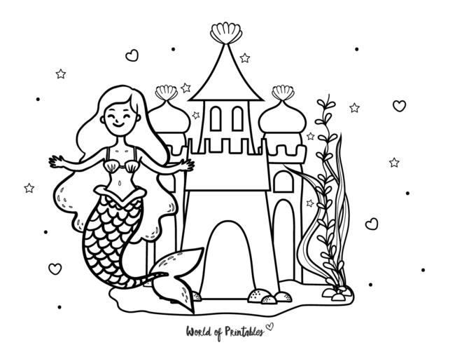 mermaid castle coloring page