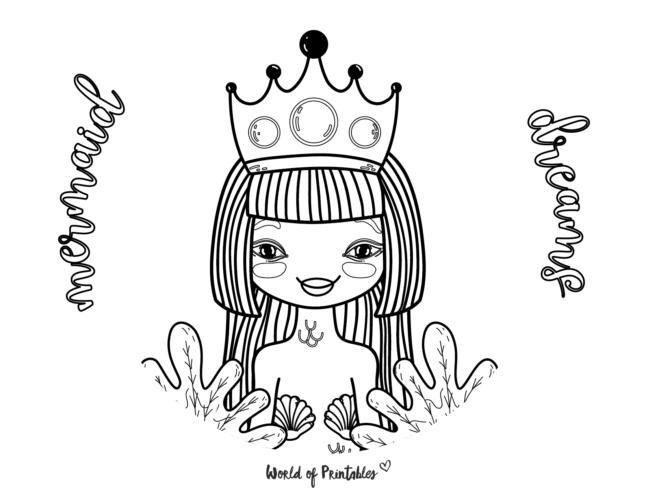 mermaid dreams coloring page