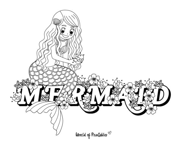 mermaid flowers coloring page