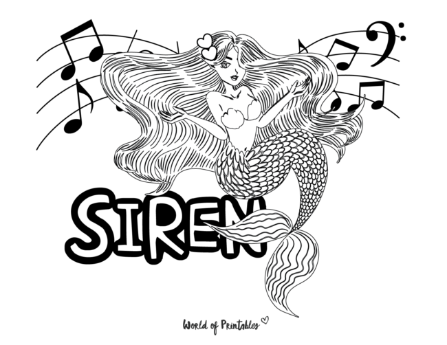 mermaid siren coloring page