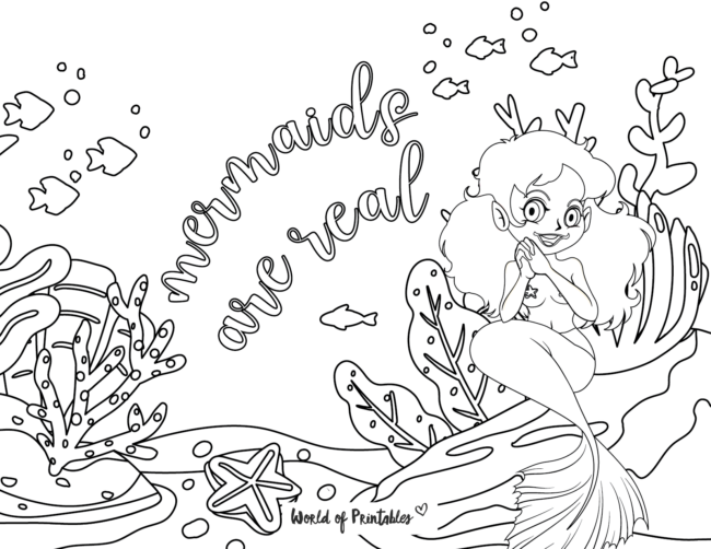 mermaids are real coloring page
