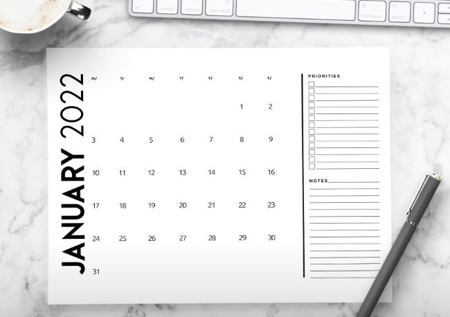 printable 2022 monthly calendar with planner