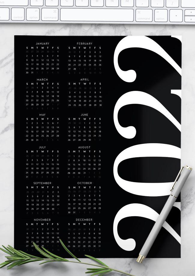 printable 2022 yearly calendar - black calendar 2022